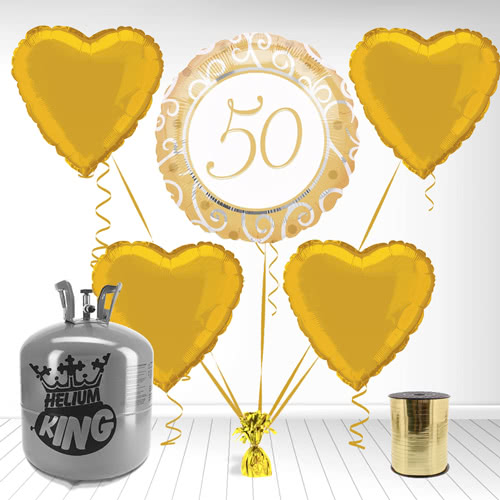 Golden 50th Foil Balloon and Helium Gas Package