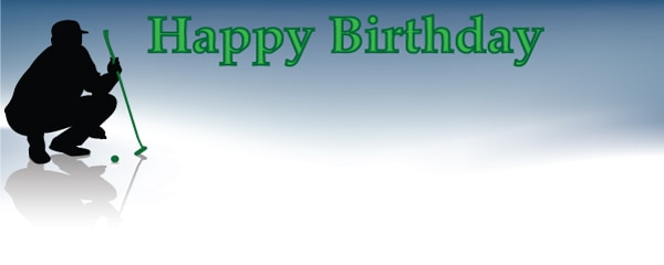 Happy Birthday Lucky Putter Design Medium Personalised Banner - 6ft x 2.25ft