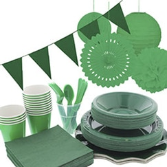 Green plain tableware