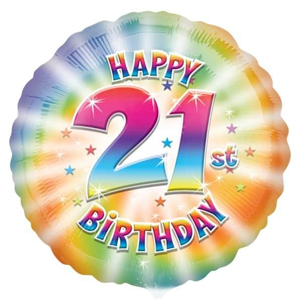 Happy 21st Birthday Round Foil Helium Balloon 43cm 17Inch