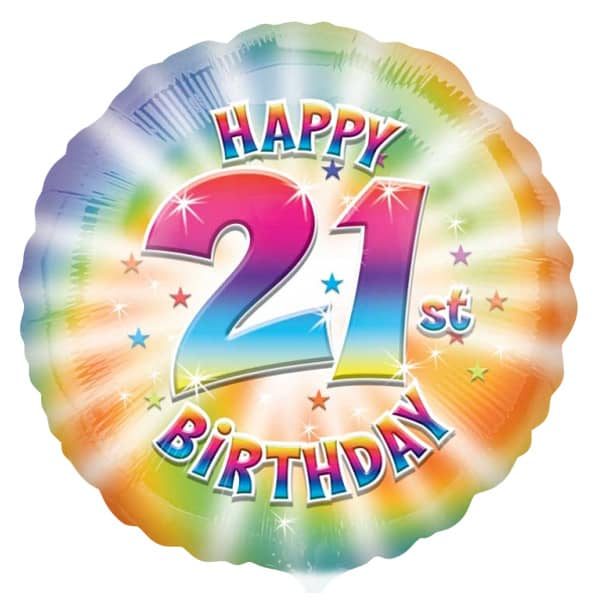 Happy 21st Birthday Round Helium Foil Balloon Product