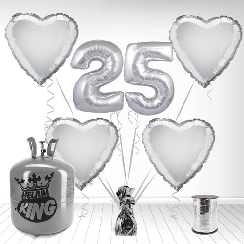 Happy 25th Anniversary Supershape Foil Balloon and Helium Gas Package Product Image