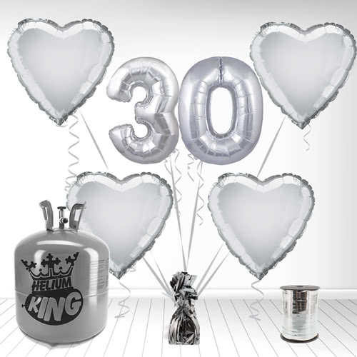 Happy 30th Anniversary Supershape Foil Balloon and Helium Gas Package Product Image