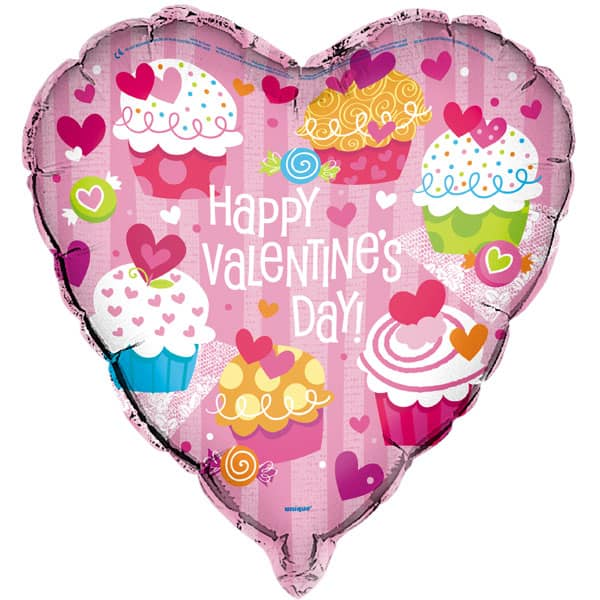 Happy Valentines Day Cupcake Heart Shaped Foil Helium Balloon 46cm / 18Inch