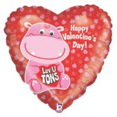 Happy Valentines Day Luv U Tons Holographic Heart Foil Helium Balloon 46cm / 18Inch
