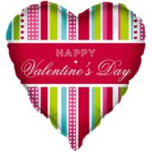 Happy Valentines Day Stripes Heart Shaped Foil Helium Balloon 46cm / 18Inch