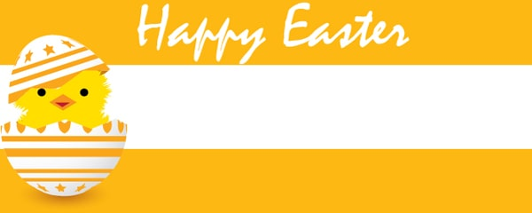 Happy Easter Chick Design Medium Personalised Banner - 6ft x 2.25ft