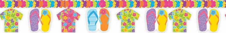 Hawaiian Flip Flop and Shirt Flower Garland - 220cm