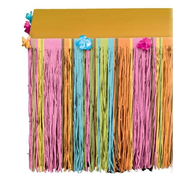Hawaiian Totally Tiki Tissue Table Skirt with Flowers - 300cm x 64cm