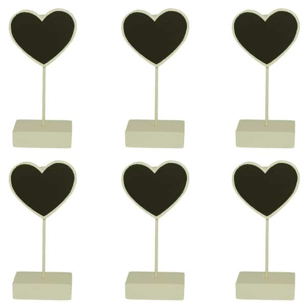 Heart Place Card Holder Chalk Board in Ivory - Pack of 6