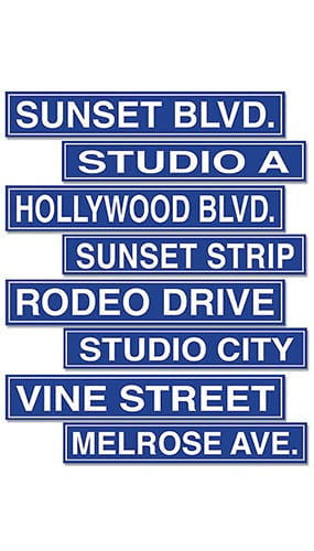 Hollywood Street Signs Decorative Cutouts - 24 Inches / 61cm - Pack of 4