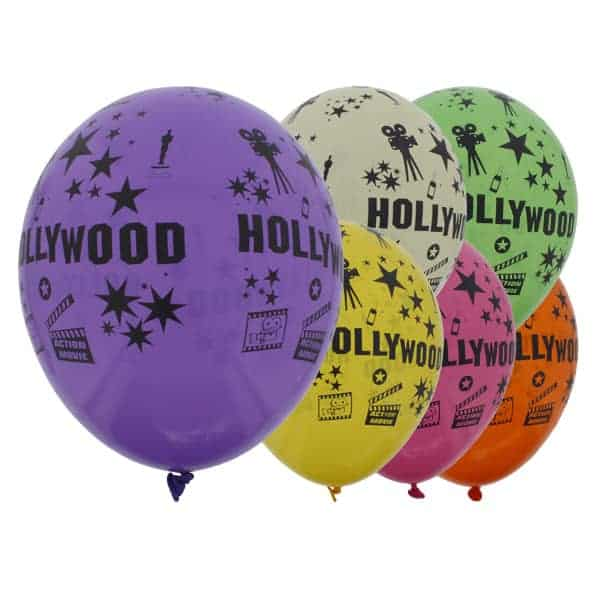 Assorted Colour Hollywood Theme Latex Balloons - 12 Inches / 30cm - Pack of 6