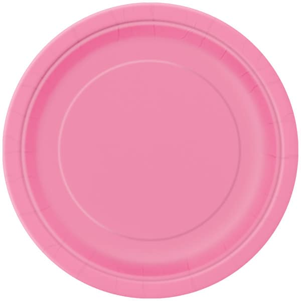 Hot Pink Round Paper Plates 22cm - Pack of 16