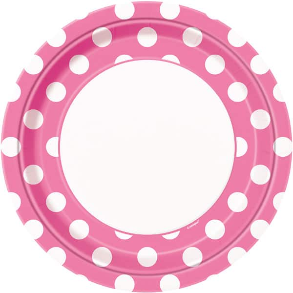 Hot Pink Decorative Dots Paper Plate 22cm / 9Inch Product Image