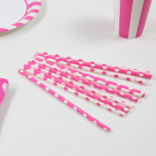 Hot Pink Decorative Dots Paper Drinking Straws – Pack of 10