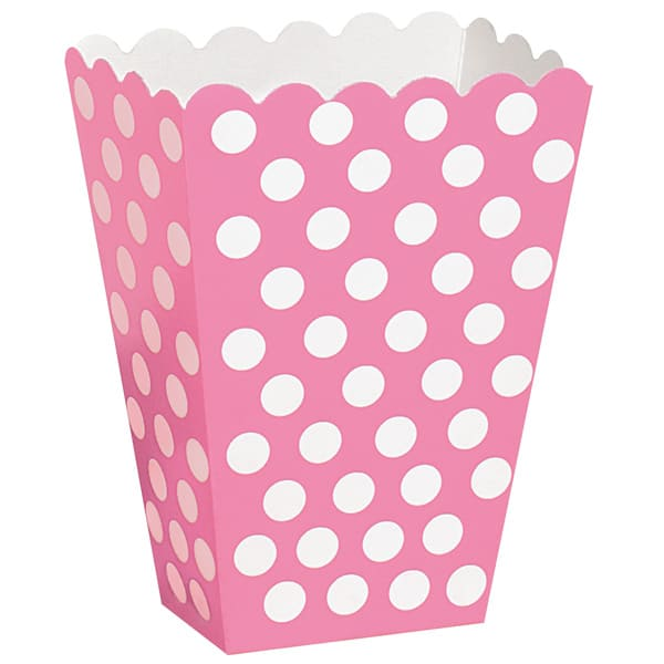 Hot Pink Decorative Dots Treat Boxes - Pack of 8