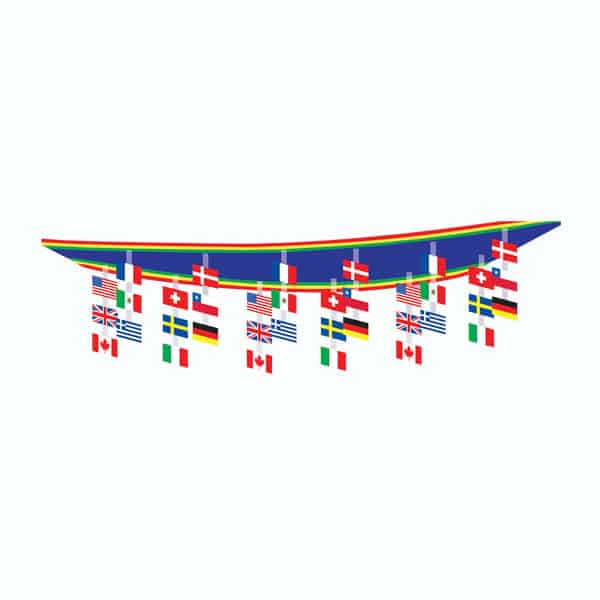 International Flag Ceiling Decoration - 12 x 1 Ft / 366 x 30cm