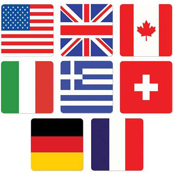 International Flags Themed Coasters - Pack of 8