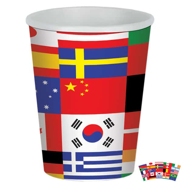 International Flags Theme Paper Cup – 9oz / 266ml