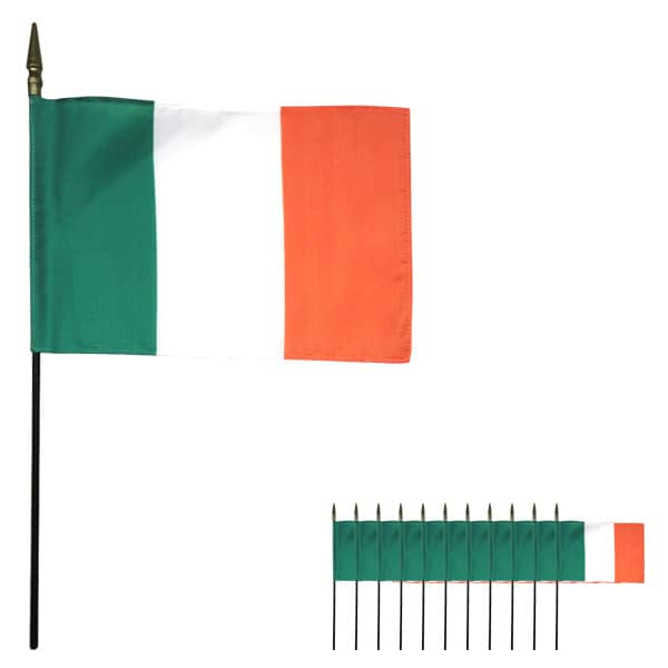 Ireland Hand-held Cloth Flag - 6 x 4 Inches / 15 x 10cm - Pack of 12