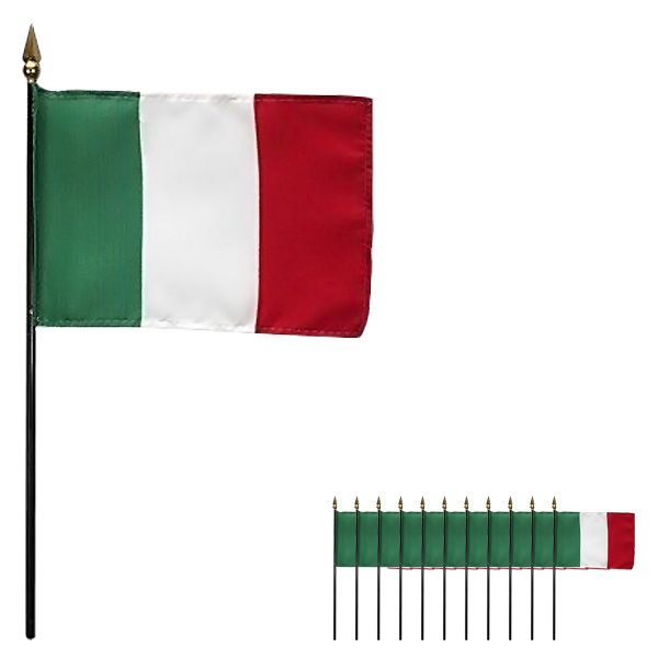 Italy Hand-held Cloth Flag - 6 x 4 Inches / 15 x 10cm - Pack of 12