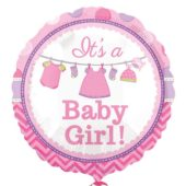 Its A Baby Girl Round Foil Helium Balloon 43cm / 17Inch