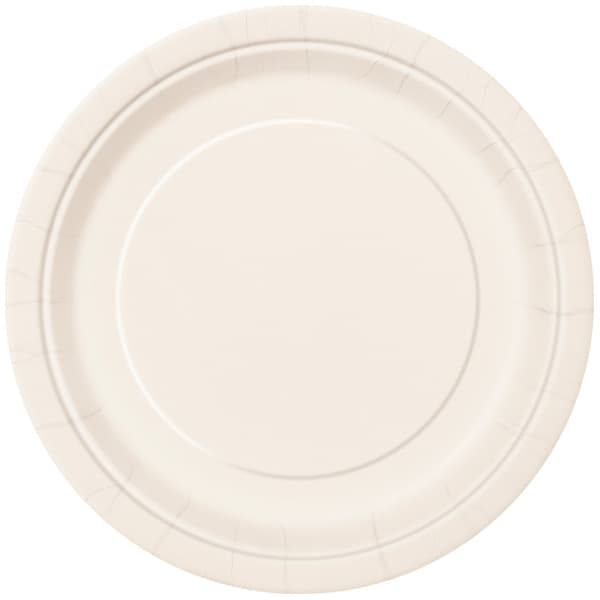 Ivory Round Paper Plates 22cm - Pack of 16