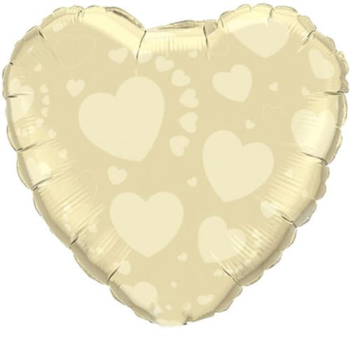 Ivory on Ivory Heart Shape Foil Helium Qualatex Balloon 46cm / 18Inch