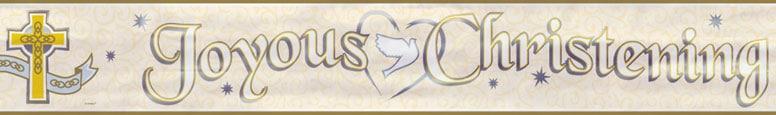'Joyous Christening' Foil Banner – 12 Ft / 366cm