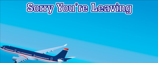 Sorry You're Leaving Plane in the Air Design Small Personalised Banner- 4ft x 2ft