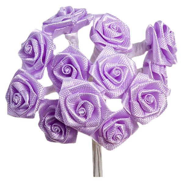 Lilac Fabric Ribbon Roses - Bunch of 12