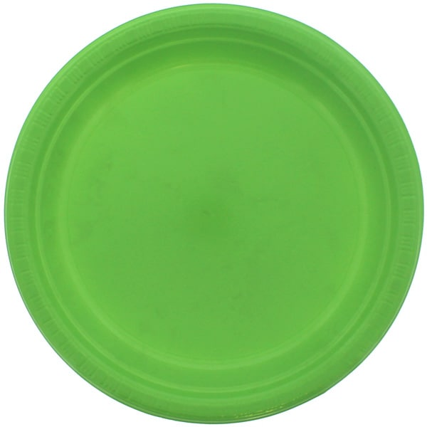 Lime Green Round Plastic Plates 23cm - Pack of 20