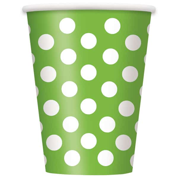 Lime Green Decorative Dots Paper Cups 354ml - Pack of 6