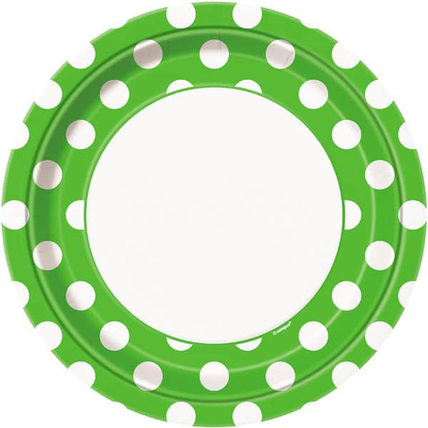 Lime Green Decorative Dots Paper Plates 22cm - Pack of 8