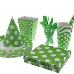 Lime Green Dots Tableware