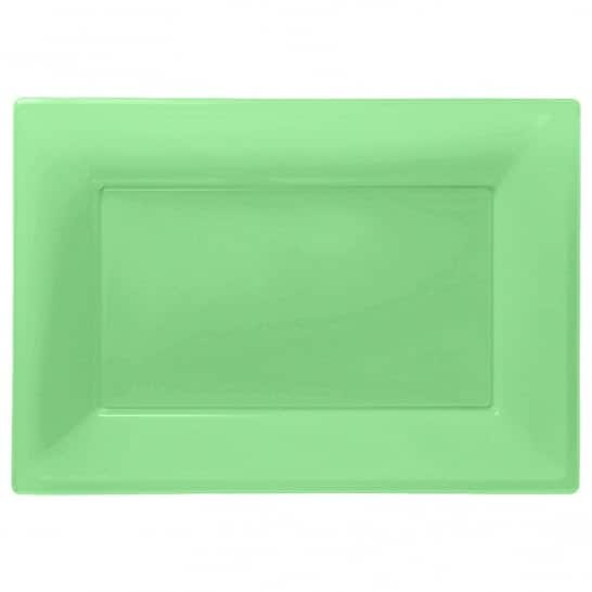 Kiwi Green Rectangular Plastic Serving Tray - 23cm x 33cm - Pack of 3 Product Image