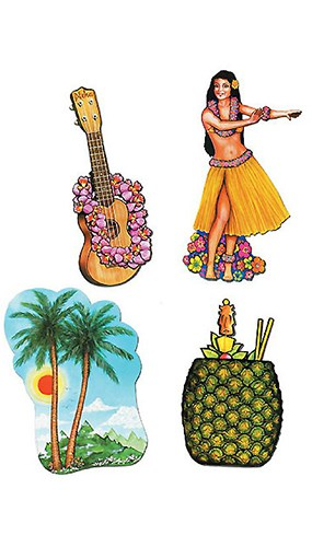 Luau Theme Decorative Cutouts - 20 Inches / 50cm - Pack of 4 Product Image