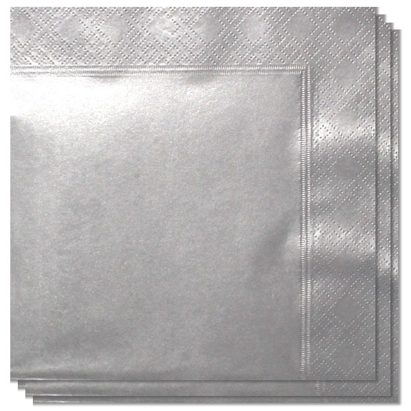 Metallic Silver 2 Ply Napkins - 40cm - Pack of 100