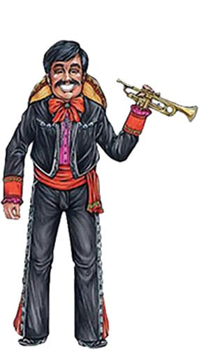 Mexican Mariachi Trumpet Jointed Decorative Cutout - 38 Inches / 97cm