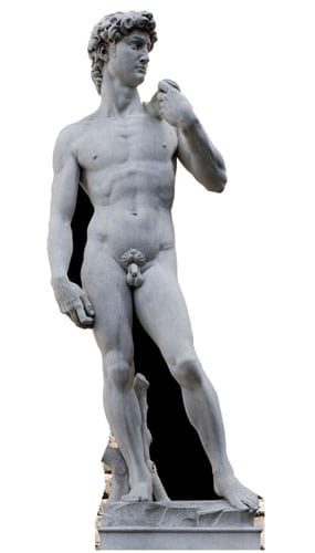 Michelangelo's David Statue Lifesize Cardboard Cutout - 186cm