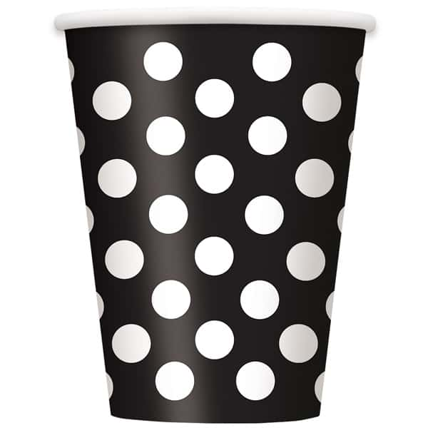 Midnight Black Decorative Dots Paper Cups 354ml - Pack of 6