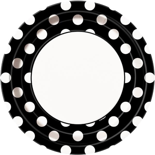 Midnight Black Decorative Dots Paper Plates 22cm - Pack of 8