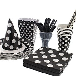 Midnight Black Dots Tableware
