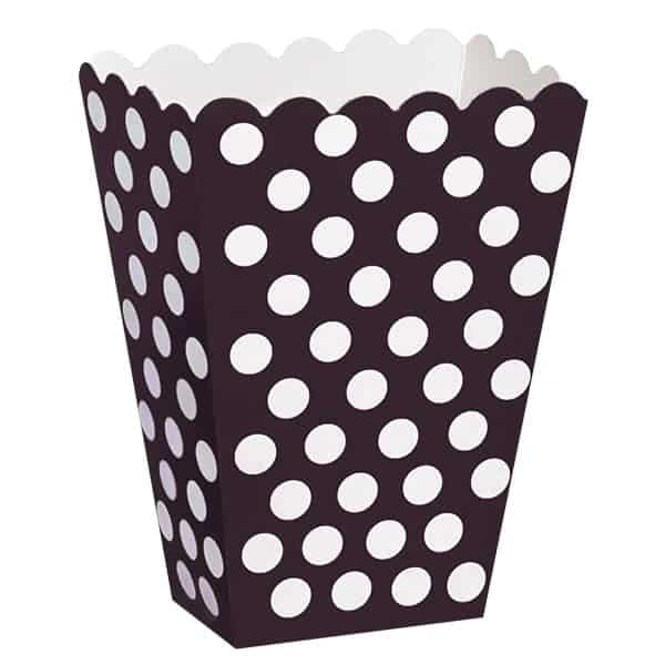 Midnight Black Decorative Dots Treat Boxes - Pack of 8