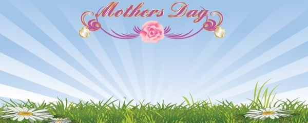 Mothers Day Field and Flowers Design Small Personalised Banner - 4ft x 2ft