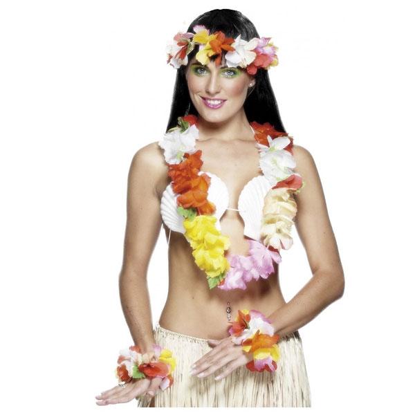 Hawaiian Flowered Bra Tropical Luau Beach Party Multi coloured