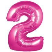 Pink Number '2' Supershape Foil Balloon – 30 Inches / 76 cm