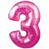 Pink Number '3' Supershape Foil Balloon – 30 Inches / 76cm