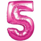 Pink Number '5' Supershape Foil Balloon – 30 Inches / 76cm