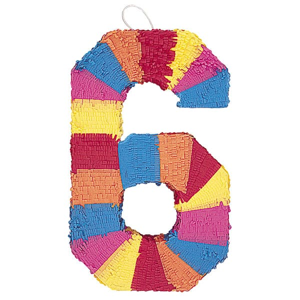 Number 6 Shaped Standard Pinata Product Image
